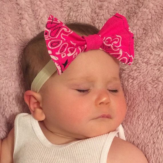 Pink Bandana Headband Bandana Bow Headband by SimplyHandyMandy