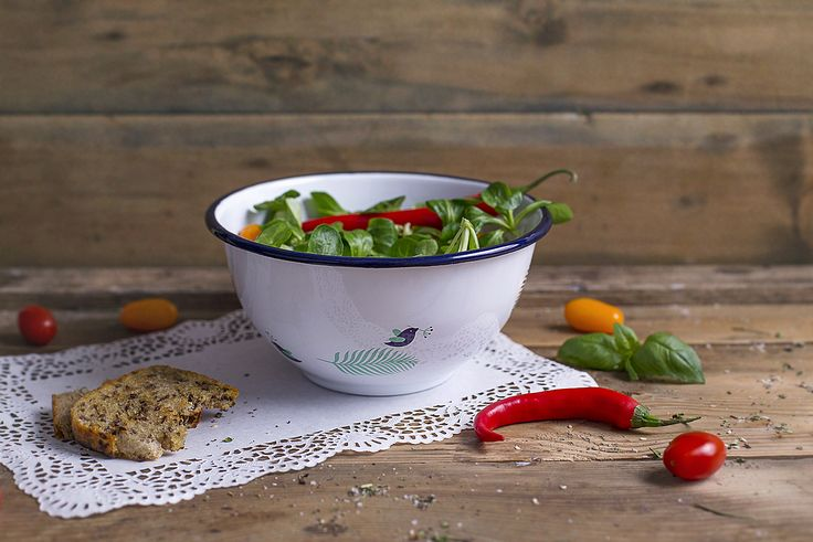Our large enamel bowl perfect for home and garden. Ideal for serving various salads or fruits.  This practical, good looking and unique piece of quality enamelware has been designed by talented artists and hand crafted by skilled professionals. Double dipped enamel layer is on rim to ensure its strength and durability. Art decal is carefully applied by hand, baked and melted into the enamel layer under high temperatures in order to preserve these literally for ages.