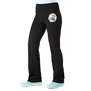 These Critical Hit D20 Yoga Pants feature a design on left thigh and back of waistband.