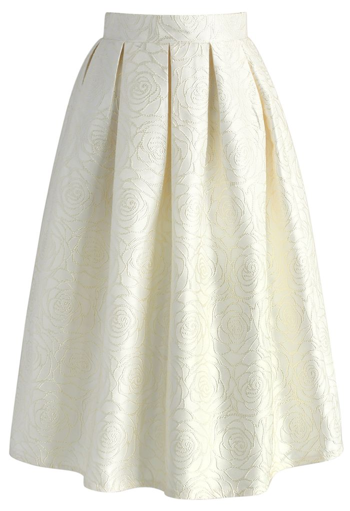 Glossy Rose Jacquard Midi Skirt in Champagne - New Arrivals - Retro, Indie and…