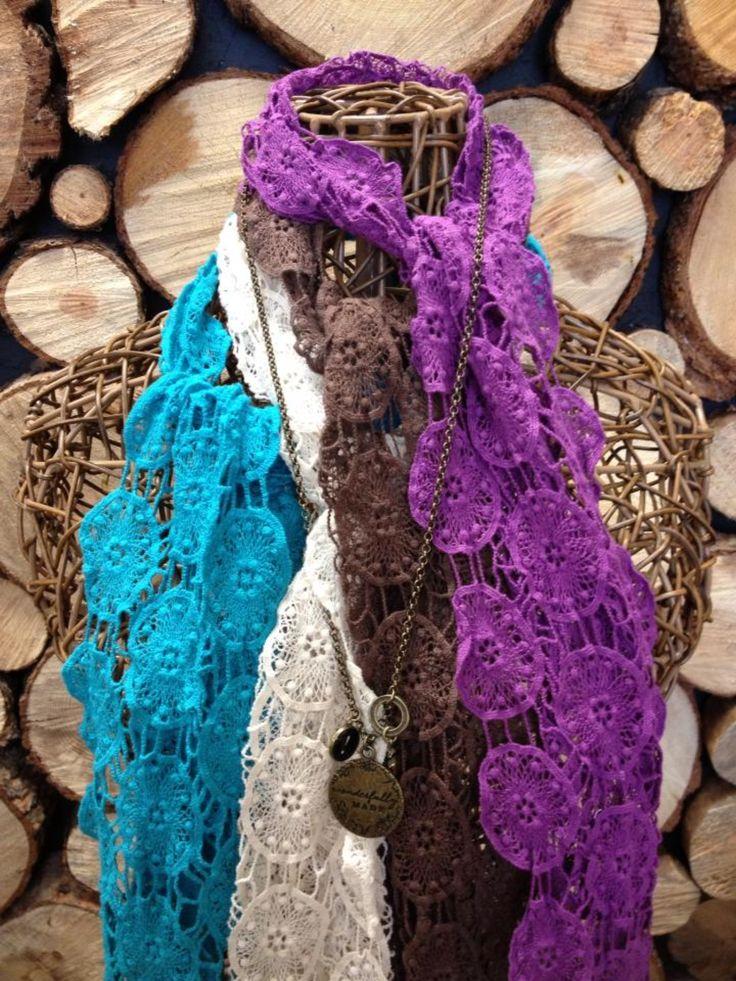 Crochet scarves.  Wear as a scarf, belt or headband.