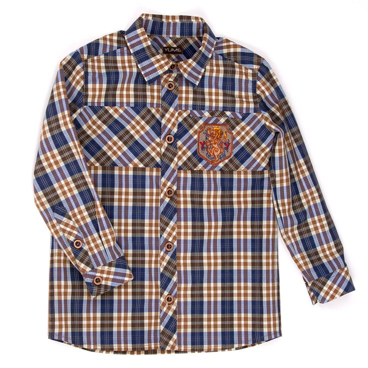 Shirt ''Leo''  Рубашка в клетку, с интересными вставками и нашивкой, с изображением геральдического льва на нагрудном кармане. #yumekidswear #yume #yumemoda #fashion #kids #дизайн #мода #дети #одежда #style #russia #fasionkids
