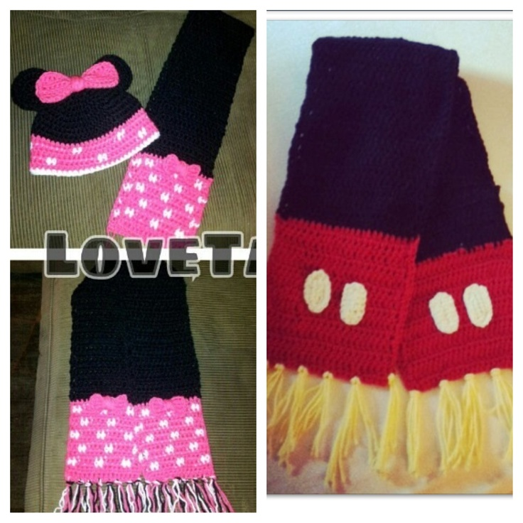 Minnie or Mickey Mouse Crochet Scarf to match Hat. $17.00, via Etsy ...