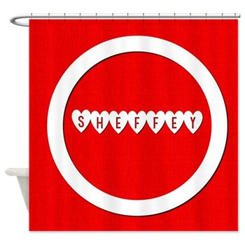 Sheffey Hearts on Red Background- 9693 Shower Curtain