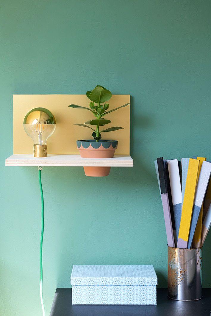 Wandplank Met Lamp.Diy Zwevende Wandplank Met Lamp Plantje Diy Tutorials