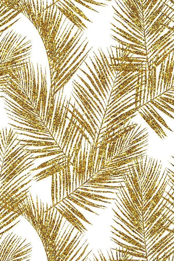 Gold Glitter Palm Leaves By Mirabelleprint Glitter Palm Leaves In Gold On A White Background On Fabric Wallpaper And Gift Wrap Soyut Resim Duvari Tablolar