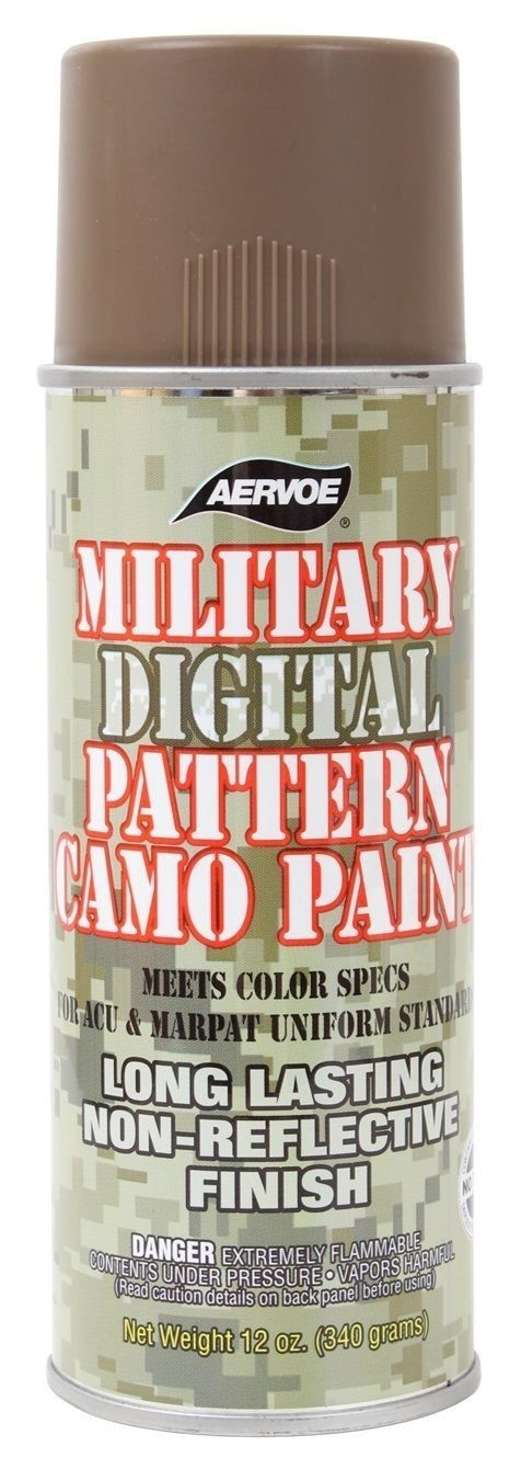 - 12 Oz. Military Digital Camo Spray Paint - Colors Available: Olive Drab, Foliage Green, Desert Sand, Coyote Brown - A Fast Drying, Corrosion Proof Enamel That Is Exceptionally Resistant To Harsh Env