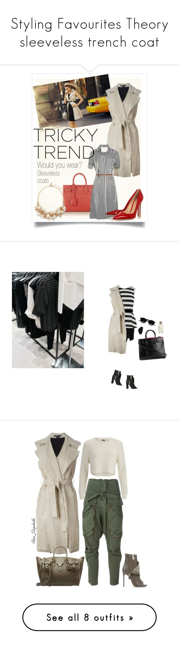"""""""Styling Favourites Theory sleeveless trench coat"""" by olgutieuse ❤ liked on Polyvore featuring outerwear, coats, jackets, vests, dresses, beige coat, sleeveless trench coats, sleeveless coats, beige trench coat and open front trench coat"""