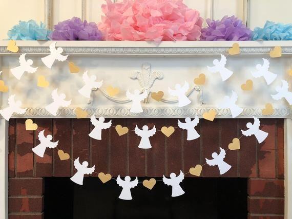 Cielo enviado bebé ducha guirnalda – oro y blanco bautismo angel banner – primera comunión guirnalda – bebé decoración de la dedicación – su elección de color