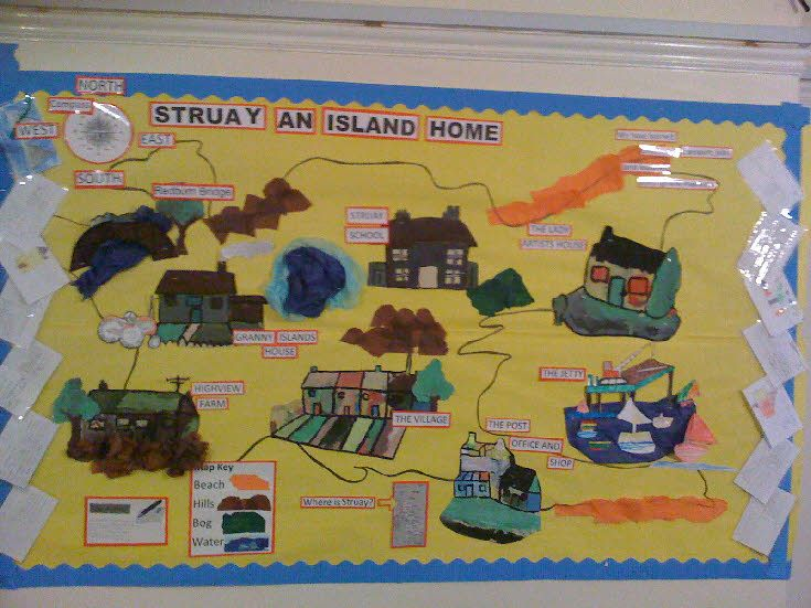 bulletin board - ons eiland (belangrijke plaatsen, wegen, foto's, beschrijvingen, legenda...)
