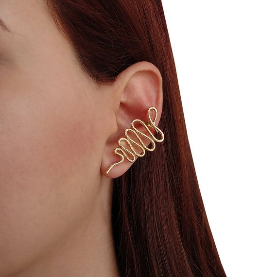 Handmade Gold Plated Snake Ear Cuff.