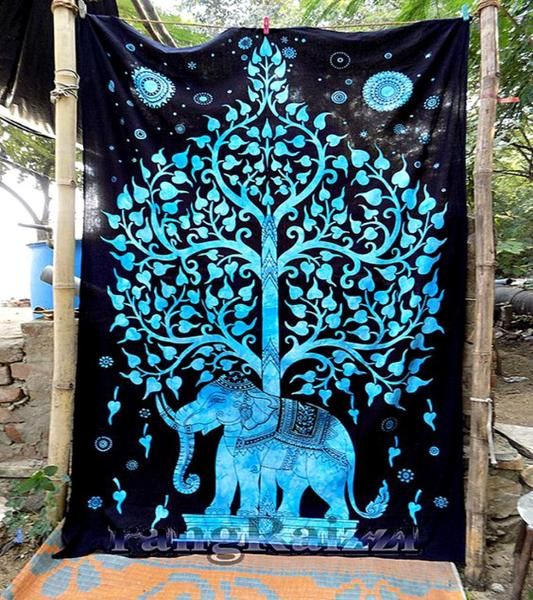 Tree Of Life Blue Trippy Boho India Wall Hanging Elephant Tapestry