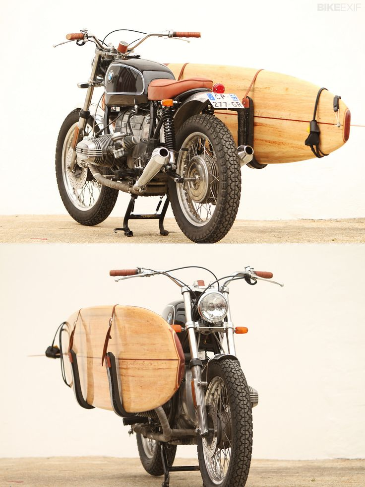 Surf's up! If you're a laidback kinda guy who likes to ride the waves as well as the roads, what could be better than this BMW R65 with a surfboard rack?