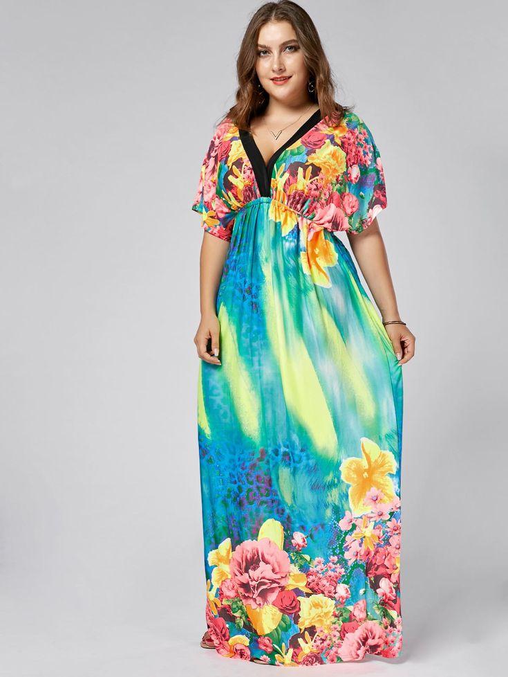 $23.87--Floral Plus Size Plunge V Neck Maxi Batwing Dress In Floral,5xl | Twinkledeals.com