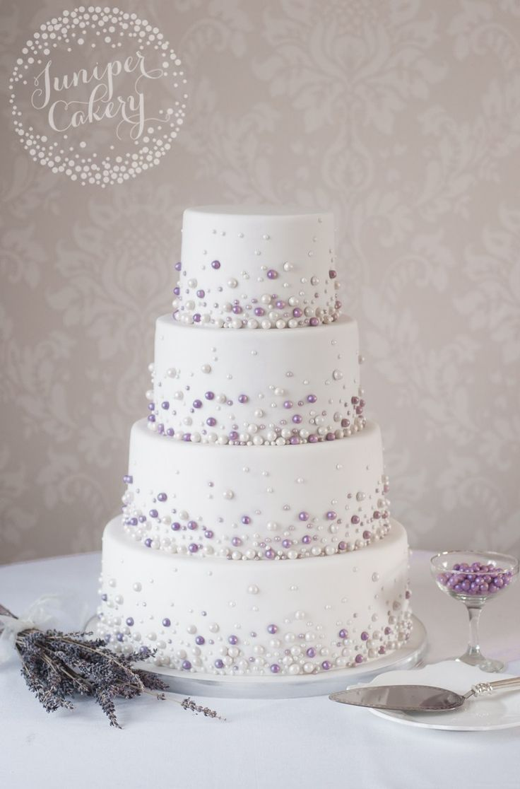 Pearl studded wedding cake by Juniper Cakery