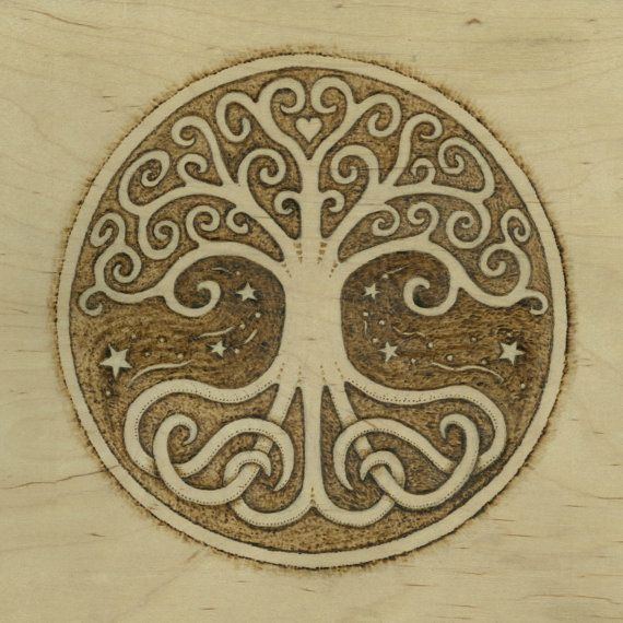 Tree of Life Pyrography Giclee Fine Art Print - by Jason Gianfriddo - Tree of Life Art - Celtic Swirling branches and roots, heart centered