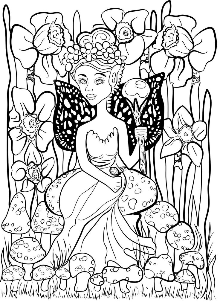 Stress Management Fairy Queen on Mushroom Adult Coloring ...