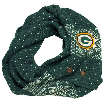 Acrylic patterned scarf can be buttoned into an infinity scarf. Embroidered felt logo.