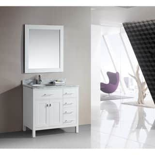 Shop for Design Element London 36-Inch Single Sink White Vanity Set with Right Drawers. Get free delivery at Overstock.com - Your Online Furniture Outlet Store! Get 5% in rewards with Club O! - 15554485