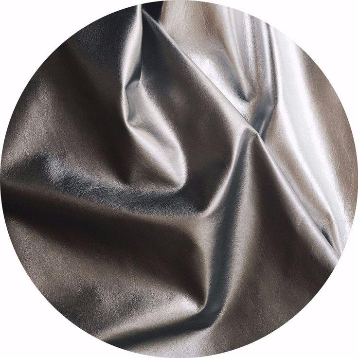 Metallic Dark Silver Foil Lamb Nappa Leather in Pewter | East Coast Leather, Australia