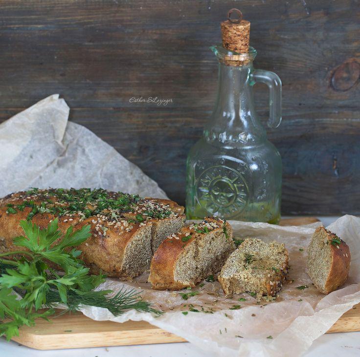 Полезный хлеб с травами и чесноком без дрожжей   Рецепты правильного питания - Эстер Слезингер