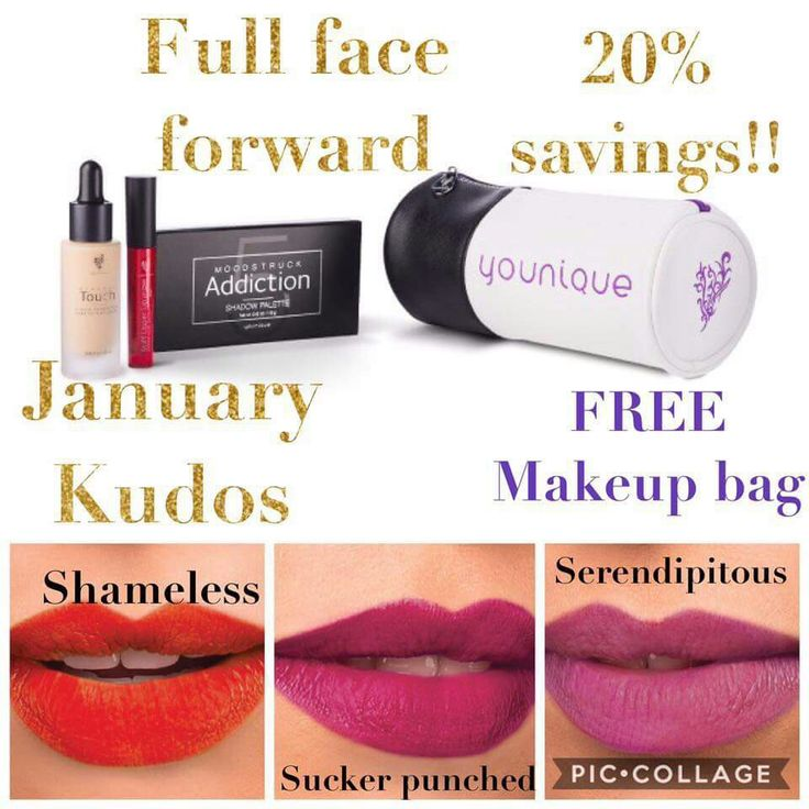 January 31, 2017, purchase the Full Face Forward Bundle, which includes a Moodstruck Addiction Shadow Palette of your choice, a Moodstruck Stiff Upper Lip Lip Stain in the color of your choice, and a Touch Mineral Liquid Foundation in the shade of your choice. You'll also be able to choose from three exclusive colors of Moodstruck Stiff Upper Lip Lip Stain—Sucker-punched, Shameless, and Serendipitous. All these products come in a FREE limited edition makeup case.