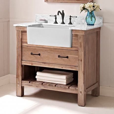 A Sonoma Sand finish gives the Napa vanities their special organic feel. It's a look that reflects the subdued grace of the California wine country. Various sizes and drawer/door combos allow the versatile units to slip into almost any style or space requirement. A farmhouse vanity provides the final authentic touch to this inspiring transitional collection.Drawer: 1Drawer Box: 1/2″ pine Solids, four-sided English dovetailGlides: Soft closingHardware: Black (4″c-c drill)Pictured (sold…