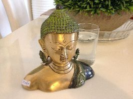 Brass Buddha Bust with Golden Color , 7 inches