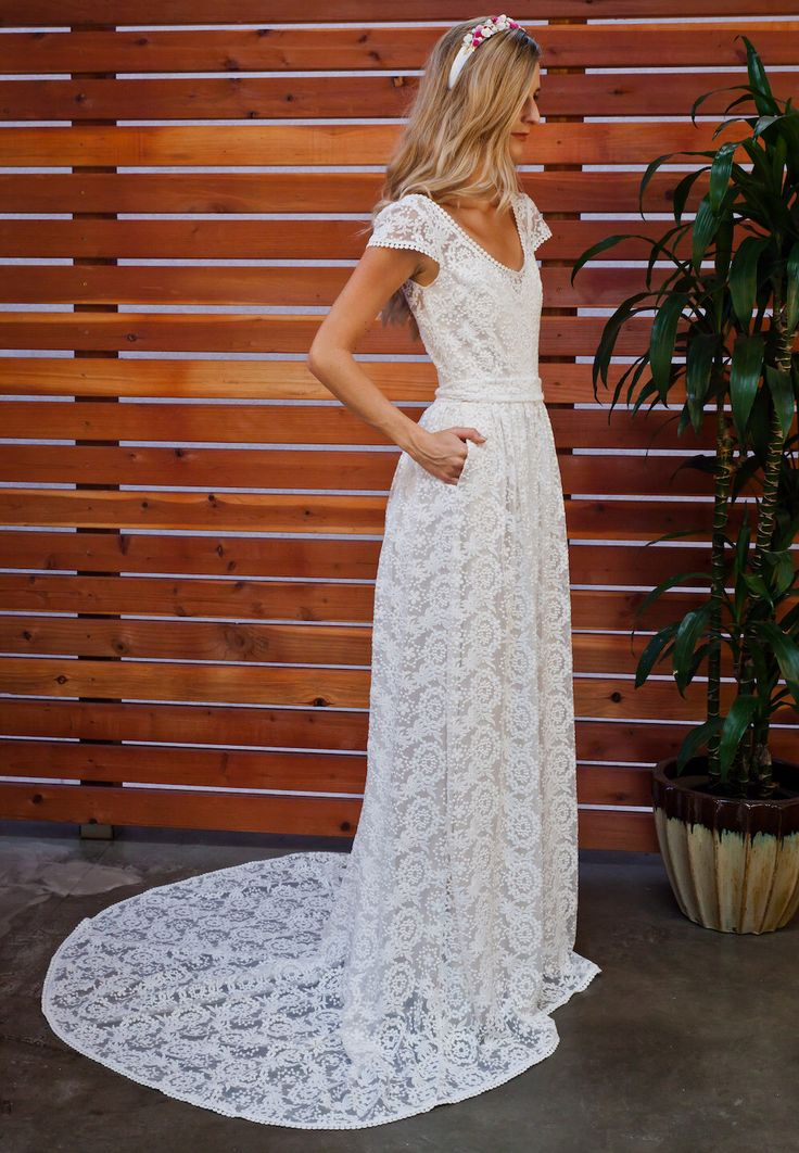 Coco Embroidered Lace Bohemian Wedding Dress | Cotton Lace Gown with POCKETS  and FULL SKIRT | Handmade |  Boho Beach Wedding Dress by Dreamersandlovers on Etsy https://www.etsy.com/listing/255961089/coco-embroidered-lace-bohemian-wedding