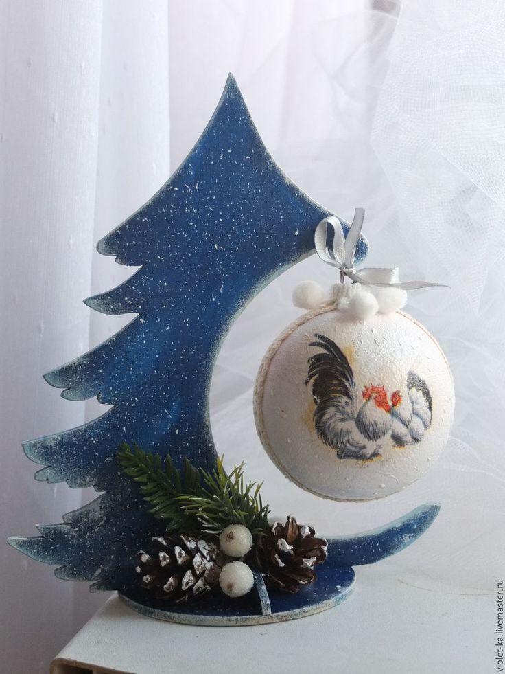 Купить Елочка с петушком - тёмно-синий, елка, елка новогодняя, елочка, елочка новогодняя