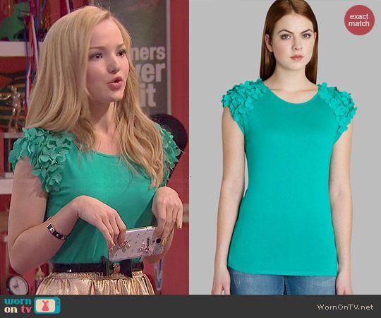Liv's green floral sleeve top on Liv and Maddie.  Outfit Details: http://wornontv.net/44235/ #LivandMaddie