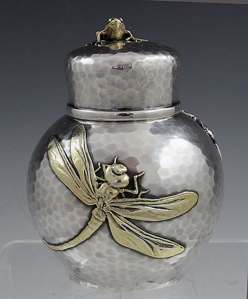Antique silver tea caddy with applied dragonfly, large bug (on reverse), and frog finial on the cap, designed by Tiffany & Co, ca.1880s. Hand-hammered sterling and mixed metal | silverperfect