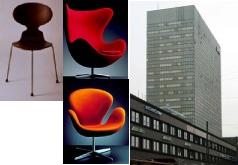 """Arne Jacobson (1902 –1971), """"De zwaan"""" Deense architect en ontwerper. Bekendste ontwerpen zijn St. Catherine's College in Oxford en het SAS Hotel in Kopenhagen. Ontwierp ook kranen, bestek en meubels, waarvan de eetkamerstoelen de mier, de zwaan en de fauteuil het ei. Beïnvloed door Mies van der Rohe, Le Corbusier en Bauhaus en het functionalisme."""