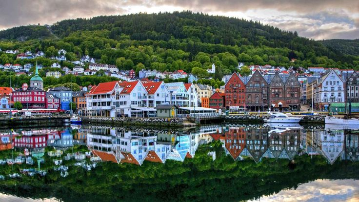 On the western coast of Norway, 278,000 people form the city of Bergen.