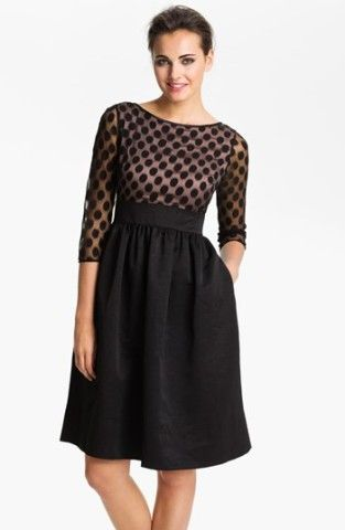 Eliza J Dot Mesh Bodice Fit & Flare Dress | Nordstrom
