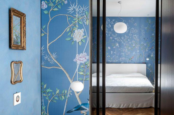 via Cernuschi - Milan,blue bedroom, misha wallpaper