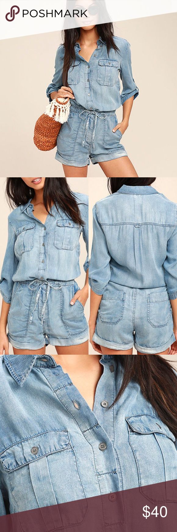 Blue Chambray Romper Live your life from one vacation to the next in the Everyday Holiday Blue Chambray Romper! Extra soft woven tencel starts at a collared neckline, and relaxed bodice with flap pockets, button-tab sleeves, and button placket. Drawstring waist tops flirty shorts with hidden zip fly, front diagonal pockets, and more patch pockets at back. Unlined. 100% Tencel. Machine Wash Cold. Imported. Pistola Jeans