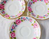 3 Vintage China Royal Tara Floral China Saucers