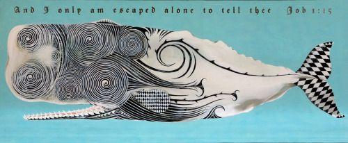 "Moby Dick, Tattoo'd, 2012. Tempera and palladium leaf on panel, 43"" x 104""Scott Kelley"