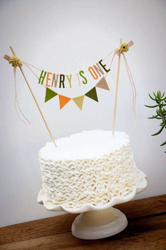 Personalized Cake Banner, Personalized Cake Topper, Birthday Cake Garland, Birthday Cake Topper, Woodland Cake Garland:  Peach and Moss