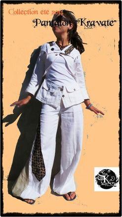 """Pantalon boule """"Kravaté"""" taille 34/petit 36 en lin blanc et beige déco d'une cravate en soie au motif graphique élastiques aux chevilles 49e + frais de port vous trouverez également sur ma boutique la veste retournée assortie"""