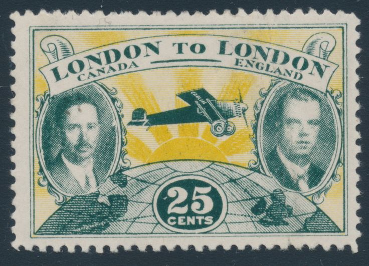 1927 LONDON to LONDON FLIGHT 25 cents, green and yellow: Only 100 stamps were printed and 86 were lost at sea when Capt. Terence Tulley and Lt. James Medcalf's plane crashed into the Atlantic Ocean in August 1927. Only 13 unused singles and one cover (that missed the flight) are known to exist. Mint stamps are worth $50,000 to $100,000 each and the unique cover last sold for $125,000 a decade ago.