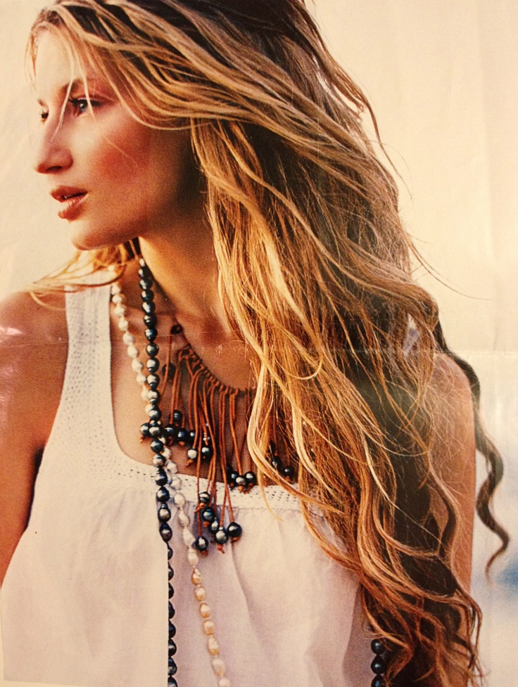 Perfect beachy hair and necklaces