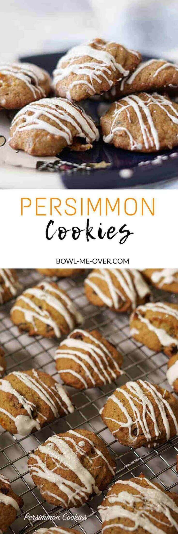 Old fashioned Persimmon Cookies are sweet and delicious. Baked with nutmeg, chocked full of nuts and cranberries and drizzled with white chocolate these cookies will be Santa's favorite this holiday season! via @bowlmeover