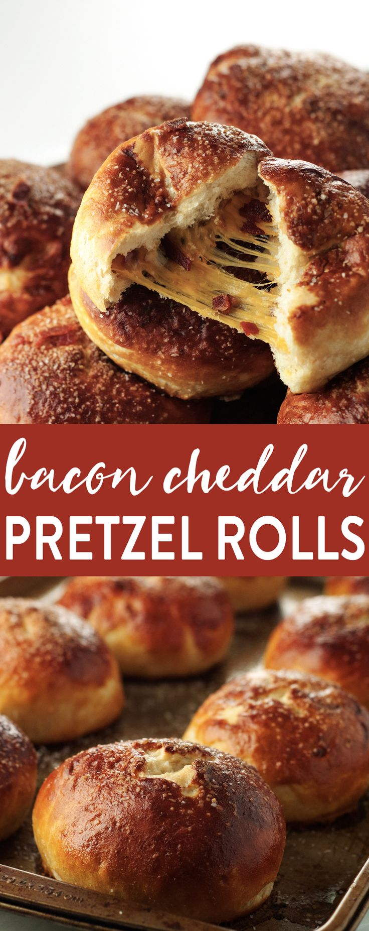 We've hit the motherload of amazing flavor with these Bacon Cheddar Pretzel Rolls! Gooey, cheesy center filled with bacon and salty, pretzel-y outside FTW!