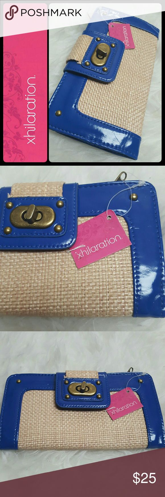 Xhilaration Straw Wallet New Xhilaration Signature Brand Wallet in Gorgeous Royal Blue and Straw Style! Brass Tone Hardware, Interior Has  Multiple Compartments with Card Slots and Zipper Pocket! Also with ID Window, Approx Size 7.5x4 Inches, NEW! Xhilaration Bags Wallets