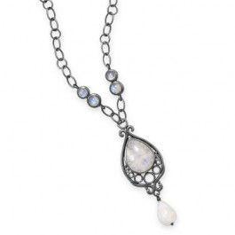 """16"""" Oxidized Ornate Rainbow Moonstone Necklace"""