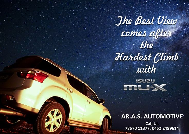 The best view comes after the hardest climb with ISUZU Mux For details and test drive contact: 78670 11377, 0452 2489614 #arasautomotive #isuzu #mux #madurai