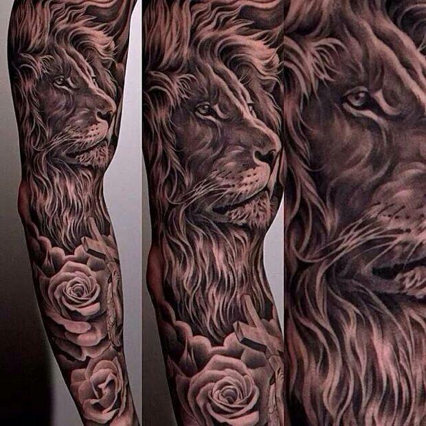 leao sombreado , com rosas em baixo e jesus cristo na parte debaixo   Tatuagem.com (tatuagens, tattoo)