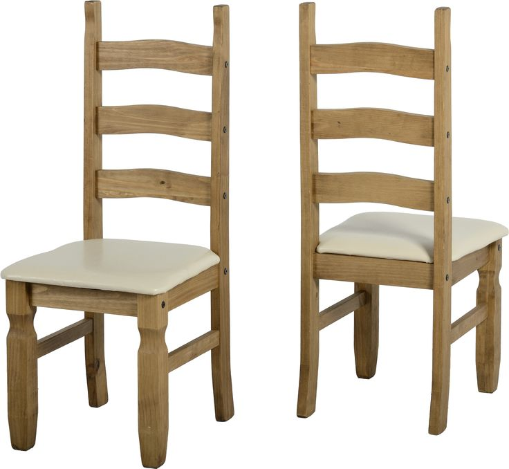 sales@spt-furniture.com Corona Chair (PAIR) Distressed Waxed Pine/Cream PU Assembled Sizes(MM) 425 x 470 x 1070  Extra Information SEAT PAD SIZE W425 D445 SEAT PAD HEIGHT H455 BACKREST HEIGHT H615